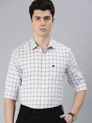 The Bear House | Men's White Checkered Formal Shirt