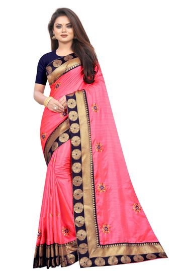 JINAL & JINAL | JJ Women's Silk Saree with Embroidery Work - LIGHT PINK