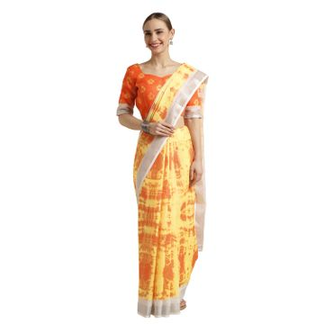 SATIMA | Satima Yellow Cotton Print & Zari Saree