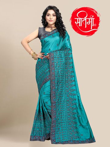 SATIMA | Designer Sky Blue Silk Blend Self-Design Embroidered Saree
