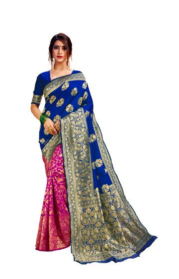Glemora | Glemora Blue & Pink Poly Cotton Milano Saree With Unstitched Blouse