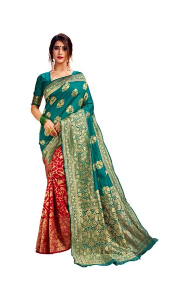 Glemora | Glemora Green & Red Poly Cotton Milano Saree With Unstitched Blouse
