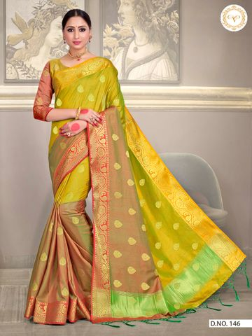 POONAM TEXTILE | DESIRABLE YELLOW SOUTH SILK WOVEN ZARI FESTIVE SAREE