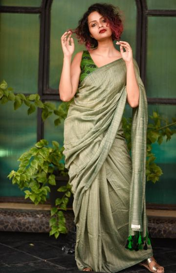 SATIMA | Satima Woman'S Grey Linen  Printed  Saree