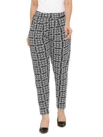 De Moza | De Moza Women's Printed Straight Pant Knit Bottom Cotton Black