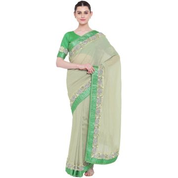 SATIMA | SatimaGeorgetteRibbon Work Saree
