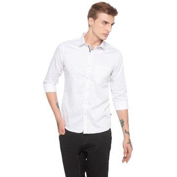 globus   Globus Micro Ditsy Print White Casual Shirt