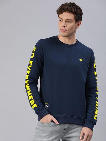 The Bear House | Men's Blue Printed Sweatshirt