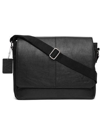 WildHorn | WildHorn Genuine Leather Black Messenger Bag for Men