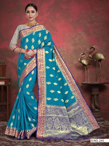 POONAM TEXTILE | TRADITIONAL BANARASI BLUE ART SILK WOVEN ZARI FESTIVE SAREE