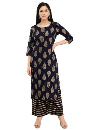 GAYRAA | Gold printed straight blue kurta with palazzo