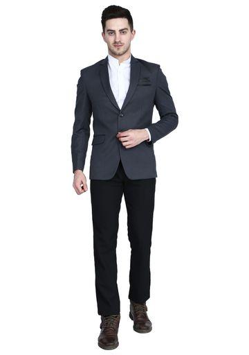 TAHVO   Grey men Notched Lapel Suit with Hanky
