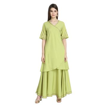 LABEL KARA | Ethnic Angrakh Kurta with Skirt