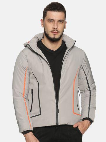 Showoff | Men Grey Solid Bomber Jacket with Detachable Hood