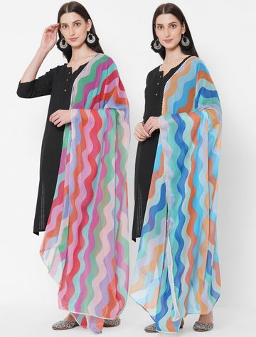 Get Wrapped | Get Wrapped Digital Printed Dupatta with Zari Lace Border for Women - Combo Pack of 2