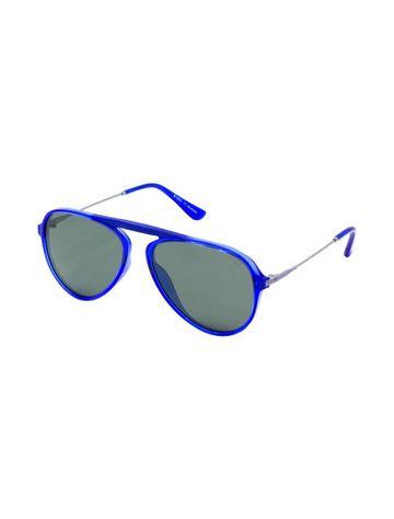 ENRICO | ENRICO Czar UV Protected & Polarized Aviator Unisex Sunglasses for Men ( Lens - Grey | Frame - Blue)
