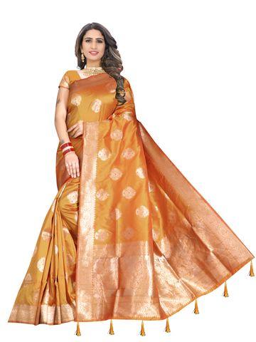 Glemora | Glemora Saree for Women Banarasi Silk With Blouse, Women Silk Sarees ( Yellow )