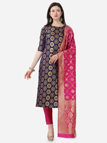 SATIMA | Blue Weaving Jaquard Silk Dress Material