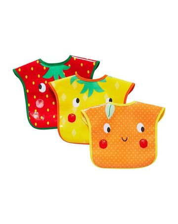 Mothercare | Fruit Slogan Oil Cloth Toddler Bibs - Pack of 3