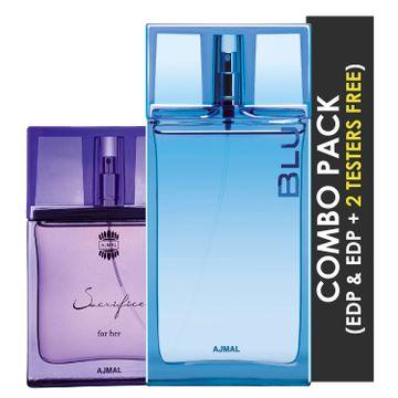 Ajmal | Ajmal  Sacrifice for HER EDP Floral Musky Perfume 50ml for Women and Blu EDP Aquatic Woody Perfume 90ml for Men + 2 Parfum Testers FREE