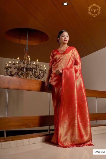POONAM TEXTILE | ELEGANT KANJIVARAM RED RAW SILK WOVEN ZARI FESTIVE SAREE
