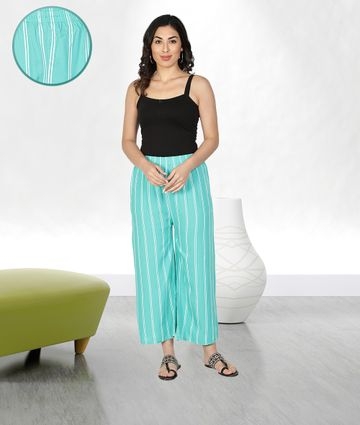 Fabclub | Fabclub Women Rayon Striped Free Size Palazzo (Turquoise)