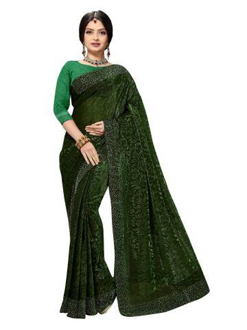 SATIMA | Fancy Ethnic Wear Green Brasso Saree