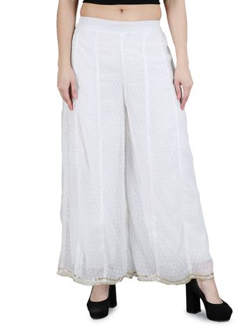 DEVS AND DIVAS | DEVS AND DIVAS Off White Polka Dobby Pallazo for Women