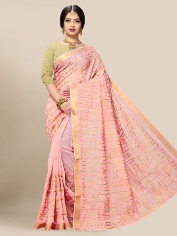 SATIMA | Latest Pink Embroidered Solid Cotton Blend Saree