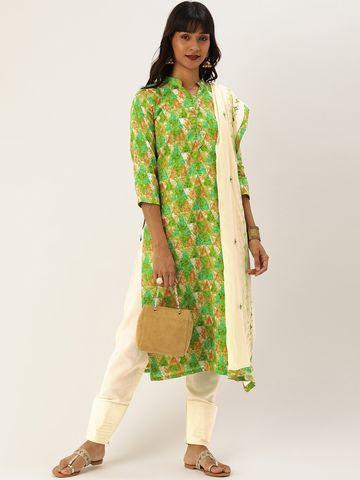 SATIMA   Green Cotton Blend Dress Material