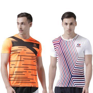 Masch Sports | Masch Sports Men Fluorescent-White Printed Regular Fit Round Neck Soft Polyester Sports T-Shirt Combo - Active Wear, Sports Wear & Gym Wear T-Shirt for Men-Large