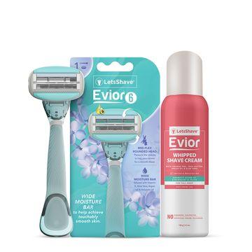 LetsShave | LetsShave Evior 6 Body Razor Trial Kit for Sensitive Skin - Twin Three Blade Design Razor + Women Whipped shave cream- 150 g