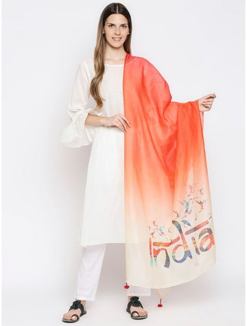 Get Wrapped   Get Wrapped Digital Multicolour Dupatta with Fancy Tassels for Women