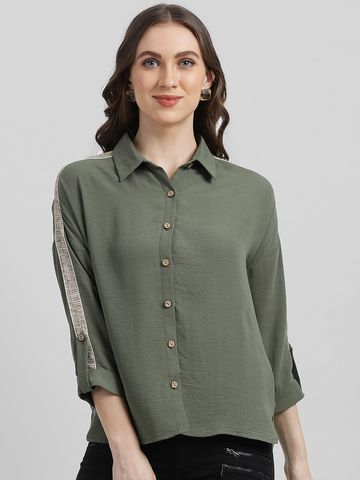 Zink London | Zink London Women's Green Solid Shirt