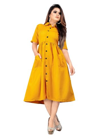 SATIMA | Stunning Yellow Colored Casual Printed Rayon Kurti