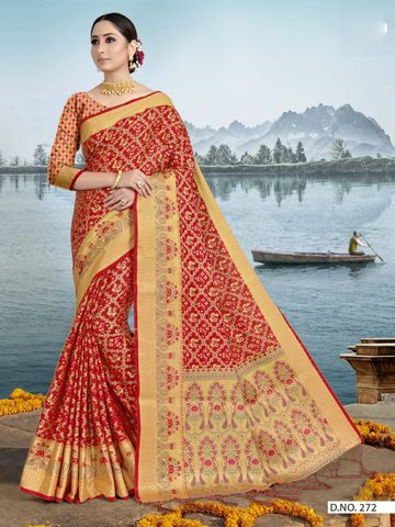 POONAM TEXTILE | TRADITIONAL PATOLA RED ART SILK WOVEN ZARI FESTIVE SAREE