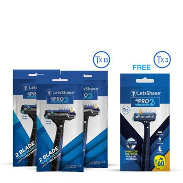 LetsShave | LetsShave Pro 2 Plus Disposable Razor - Twin Blade Disposable Shaving Razor (Pack of 15+3 free)