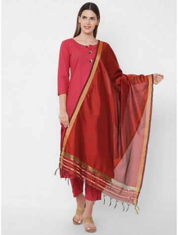 Get Wrapped   Get Wrapped Polyester Gold Border Maroon Dupatta with Embroidery