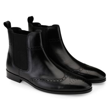 Hats Off Accessories | Hats Off Accessories Genuine Leather Black Wingtip Chelsea Boots