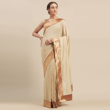 SATIMA | Satima BeigeGeorgetteWeaving Border Saree