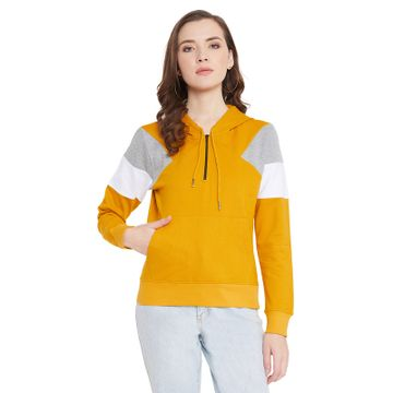 Jhankhi | Women's Yellow Regular Fit Hoodie