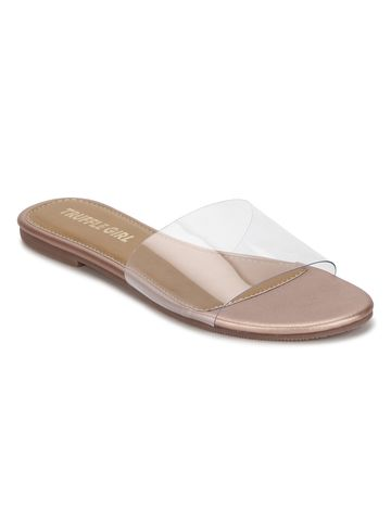 Truffle Collection | Rose Gold PU Flat Perspex Sandals