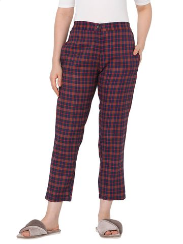 Smarty Pants | Smarty pants women's cotton maroon & blue checkered ankle length tapered fit trouser