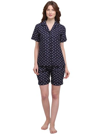 Smarty Pants | Cotton quircky cycle print blue night suit