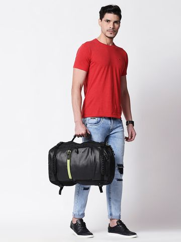 spykar | Spykar Black Leather Laptop Backpack