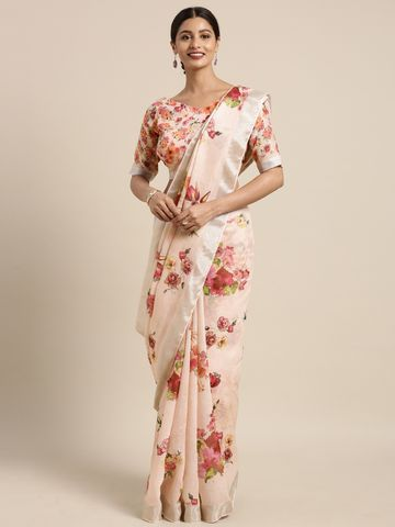 SATIMA | Satima Peach & MultiLinen CottonFloral Print Saree