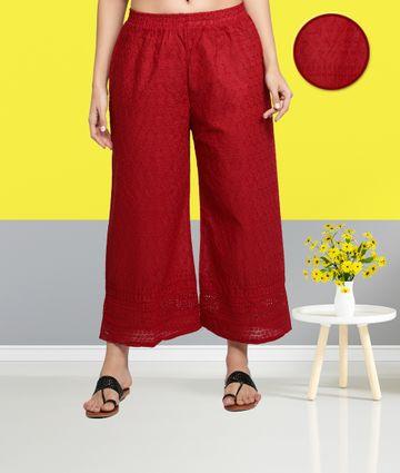 Fabclub | Fabclub Cotton Chikan Free Size Women Palazzo (Maroon)