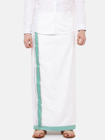 Ramraj Cotton | PANCHAMI GRAND PLAIN WHITE  DHOTI GREEN BORDER
