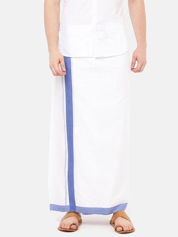 Ramraj Cotton | PANCHAMI SPL PLAIN WHITE  DHOTI BLUE BORDER