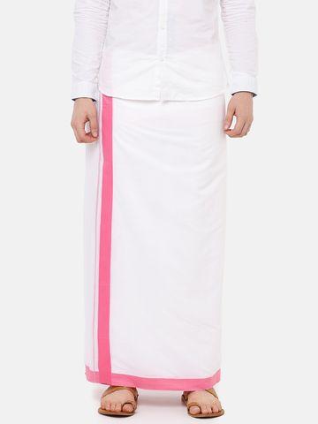 Ramraj Cotton | PANCHAMI SPL PLAIN WHITE  DHOTI PINK BORDER